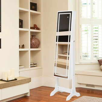 Touch Screen Led Light Mirrored Jewelry Cabinet-White (HW58534WH)