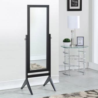 Full Length Rectangular Floor Mirror With Tilt Wood Frame-Black (HW58835BK)