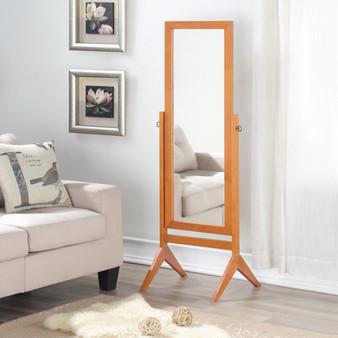 Full Length Rectangular Floor Mirror With Tilt Wood Frame-Coffee (HW58835CF)