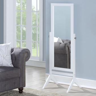 Full Length Rectangular Floor Mirror With Tilt Wood Frame-White (HW58835WH)