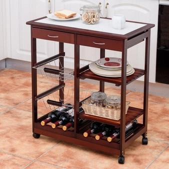 Rolling Wood Kitchen Trolley Cart Island Shelf W/ Storage Drawers Baskets New-Red (HW58491)