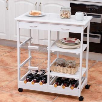 Rolling Wood Kitchen Trolley Cart Island Shelf W/ Storage Drawers Baskets New-White (HW58491WH)
