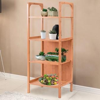 4 Tiers Bamboo Bathroom Shelf Storage Unit Tower Rack (HW56588)