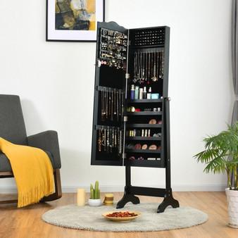 Mirrored Lockable Jewelry Cabinet Armoire Organizer Storage Box-Black (JV10088BK)