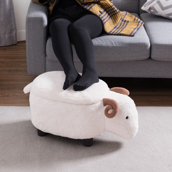 White Sheep Upholstered Ride-On Storage Ottoman Footrest Stool (HW60672)