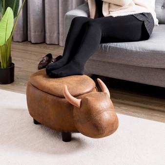 Buffalo Upholstered Ride-On Storage Ottoman Footrest (HW60669)