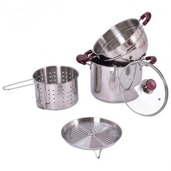 Reward-5 Pcs Stainless Steel Stock Pot 7-Quart Pasta Cooker Set (PTEX-KC43347)
