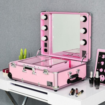 Rolling Cosmetics Case Mirror Telescoping Legs 6 Led Lights Portable-Pink (HB85508PI)