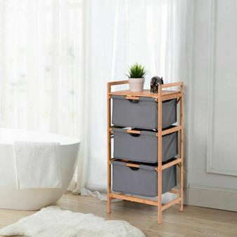 3 Drawer Bamboo Shelf Dresser Sliding Cloth Fabric Storage Bins (HW56585)