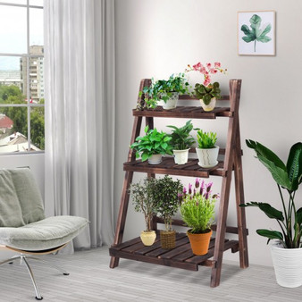Reward-3 Tier Outdoor Wood Design Folding Display Flower Stand (PTEX-HW58935)