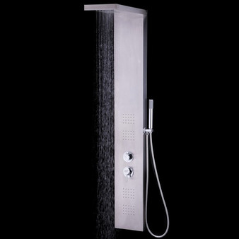"""55"""" Brushed Stainless Steel Shower Panel Rainfall Waterfall (BA7209)"""