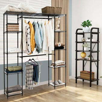 Expandable Free Standing Closet Clothes Hanger Rack-Black (HW56594BK)
