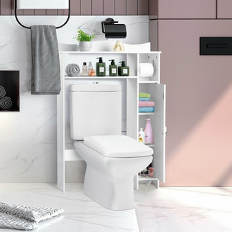 Wood Over The Toilet Bathroom Space Saver With Paper Holder And Shelf (HW67411)