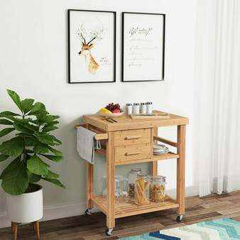 Bamboo Kitchen Trolley Cart With Tower Rack And Drawers (KC53113)