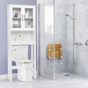 Over The Toilet Storage Cabinet Bathroom Space Saver With Tempered Glass Door (BA7737)