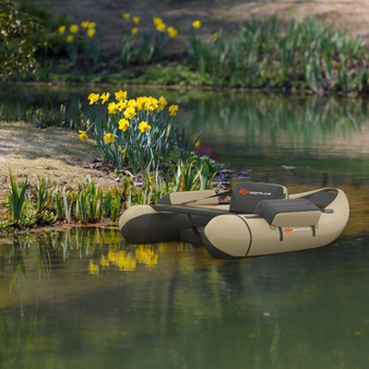 Inflatable Fishing Float Tube With Pump Storage Pockets And Fish Ruler-Beige (OP70878BE)