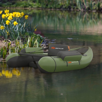 Inflatable Fishing Float Tube With Pump Storage Pockets And Fish Ruler-Green (OP70878GN)