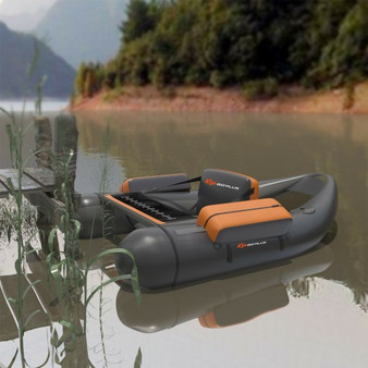 Inflatable Fishing Float Tube With Pump Storage Pockets And Fish Ruler-Gray (OP70878HS)