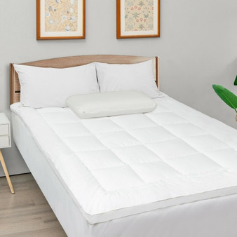Mattress Pad Cover Padded Topper Soft Quilted Fitted Deep Pocket-Full Size (HT1142F)