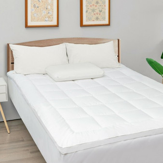 Mattress Pad Cover Padded Topper Soft Quilted Fitted Deep Pocket-Queen Size (HT1142Q)