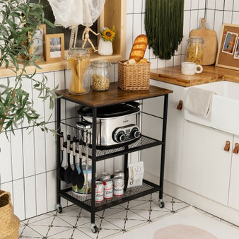 3-Tier Kitchen Serving Cart Utility Standing Microwave Rack With Hooks Brown (JZ10017CF)