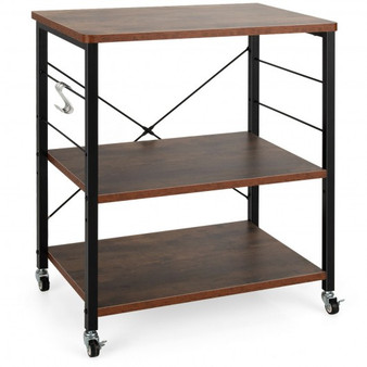 3-Tier Kitchen Baker'S Rack Microwave Oven Storage Cart With Hooks-Rustic Brown (JZ10016CF)