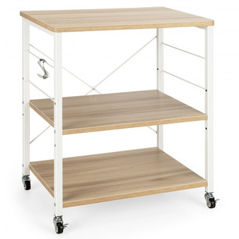 3-Tier Kitchen Baker'S Rack Microwave Oven Storage Cart With Hooks-Light Brown (JZ10016MS)