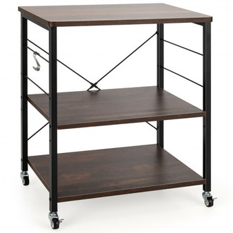 3-Tier Kitchen Baker'S Rack Microwave Oven Storage Cart With Hooks-Charcoal Brown (JZ10016VB)