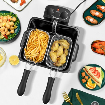 Electric Deep Fryer 5.3Qt/21-Cup Stainless Steel 1700W With Triple Basket (EP24955US)