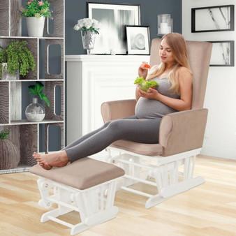 Wooden Baby Nursery Glider And Ottoman Cushion Set-Pink (HW67559PI)