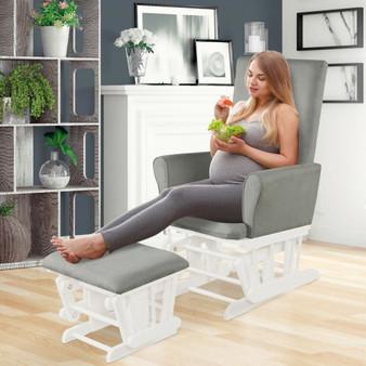 Wooden Baby Nursery Glider And Ottoman Cushion Set-Gray (HW67559SL)