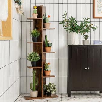 Open Concept Plant Display Shelf Rack Storage Holder-Brown (HW57374CF)