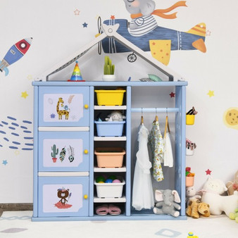 Kids Wardrobe Costume Storage Closet Pretend Dresser Hanging Armoire-Blue (TP10007BL)