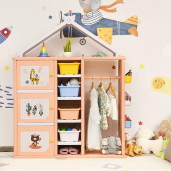 Kids Wardrobe Costume Storage Closet Pretend Dresser Hanging Armoire-Pink (TP10007PI)
