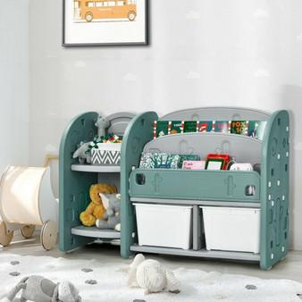 Kids Toy Storage Organizer With 2-Tier Bookshelf And Plastic Bins (TP10008)