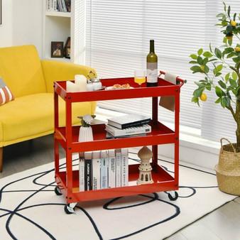 3-Tier Utility Cart Metal Mental Storage Service Trolley-Red (HW68112RE)