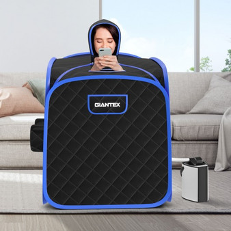 800W 2 Person Portable Steam Sauna Tent Spa With Hat Side Holes 3L Steamer-Black (BA7733US-BK)