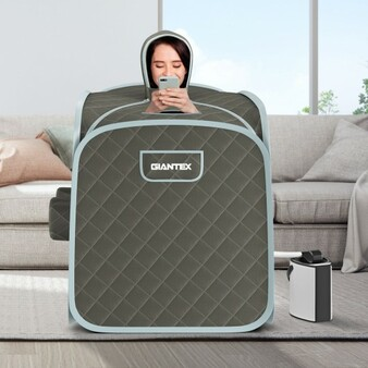 800W 2 Person Portable Steam Sauna Tent Spa With Hat Side Holes 3L Steamer-Gray (BA7733US-GR)