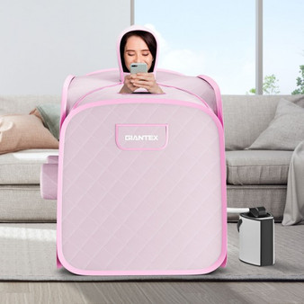 800W 2 Person Portable Steam Sauna Tent Spa With Hat Side Holes 3L Steamer-Pink (BA7733US-PI)