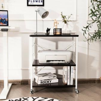 3-Tier Kitchen Baker'S Rack Microwave Oven Storage Cart With Hooks-Deep Brown (JZ10016BN)