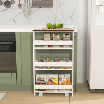 Rolling Kitchen Slim Storage Cart Mobile Shelving Organizer With Handle-White (JV10220WH)
