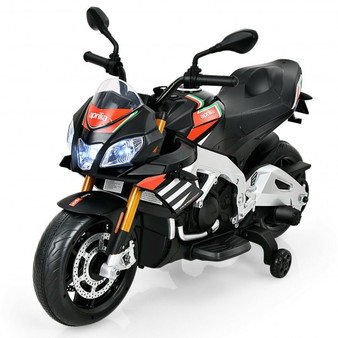 Aprilia Licensed Electric Toddler Ride-On Motorbike With Training Wheels And Led Lights-Black (TQ10004US-BK)