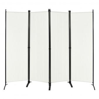 4-Panel Room Divider With Steel Frame-White (HW68273WH)
