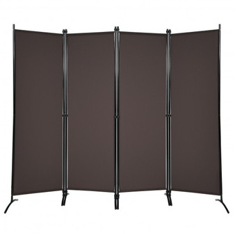 4-Panel Room Divider With Steel Frame-Brown (HW68273CF)