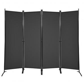 4-Panel Room Divider With Steel Frame-Black (HW68273BK)