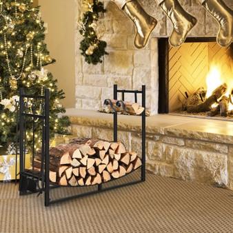 36 Inch Fireplace Log Holder With Kindling Holders And Shovel (OP70814)