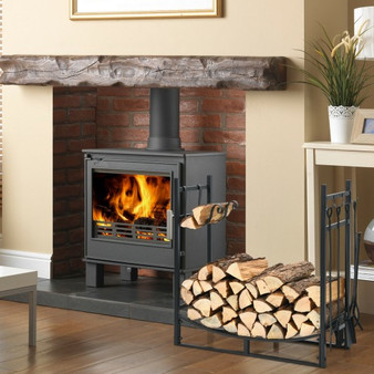 30 Inch Firewood Rack With 4 Tool Set Kindling Holders For Indoor And Outdoor (OP70815)