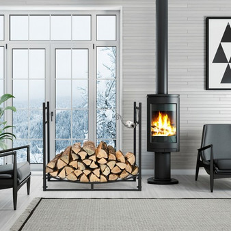 33 Inch Firewood Rack With Removable Kindling Holder Steel Fireplace Wood (OP70816)