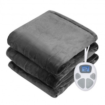 """84"""" X 90"""" Flannel Heated Electric Blanket With Dual Controllers -Gray (EP24931US-GR)"""