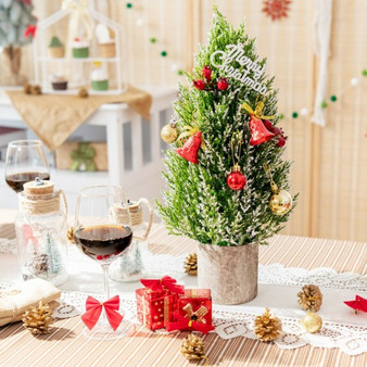 """18.5"""" Snowy Tabletop Christmas Tree With Pe Branch Tips And Pulp Base (CM23673)"""